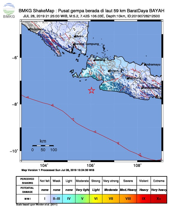 Gempabumi Tektonik M 5,2 Mengguncang Banten, Jakarta, dan Jawa Barat, Tidak Berpotensi Tsunami