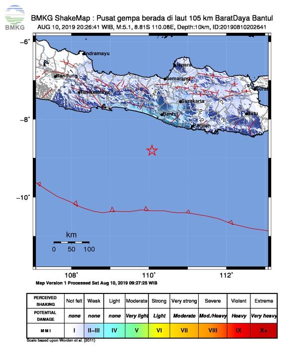 Gempabumi Tektonik M 5,1 Mengguncang Kabupaten Kulon Progo, Tidak Berpotensi Tsunami