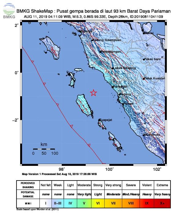 Gempabumi Tektonik M 5,3 Mengguncang Kota Pariaman, Tidak Berpotensi Tsunami