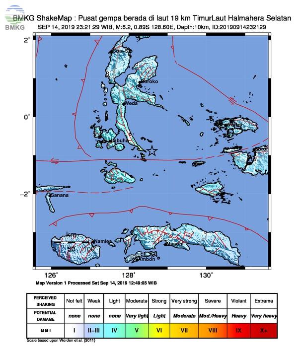 Gempabumi Tektonik M 6,2 di Laut Halmahera, Tidak Berpotensi Tsunami