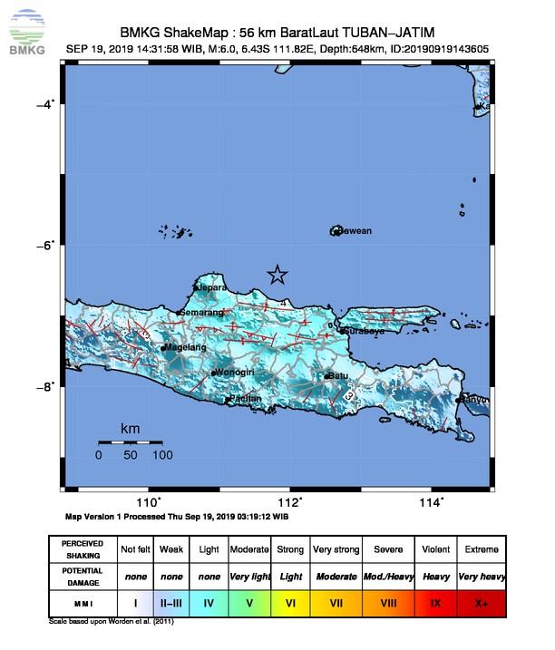 Dua Gempabumi Tektonik Terjadi di Laut Jawa, Tidak Berpotensi Tsunami