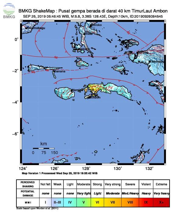 Gempabumi Tektonik M 6,8 Mengguncang Kota Ambon, Tidak Berpotensi Tsunami