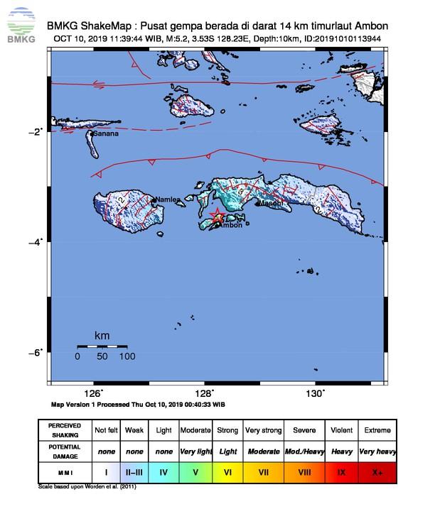 Gempabumi Tektonik M 5,2 Mengguncang Kota Ambon, Tidak Berpotensi Tsunami