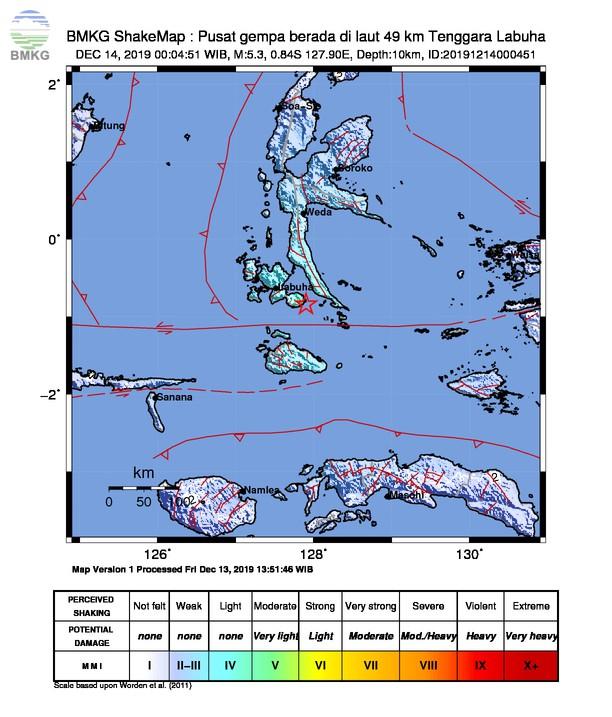 Gempabumi Tektonik M 5,3 di Maluku Utara, Tidak Berpotensi Tsunami