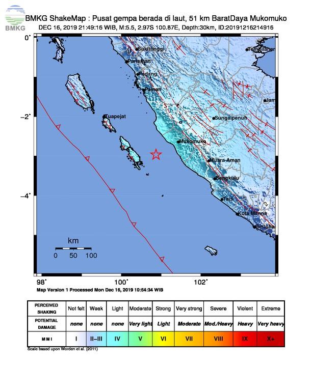 Gempabumi Tektonik M 5,5 di Mukomuko, Tidak Berpotensi Tsunami