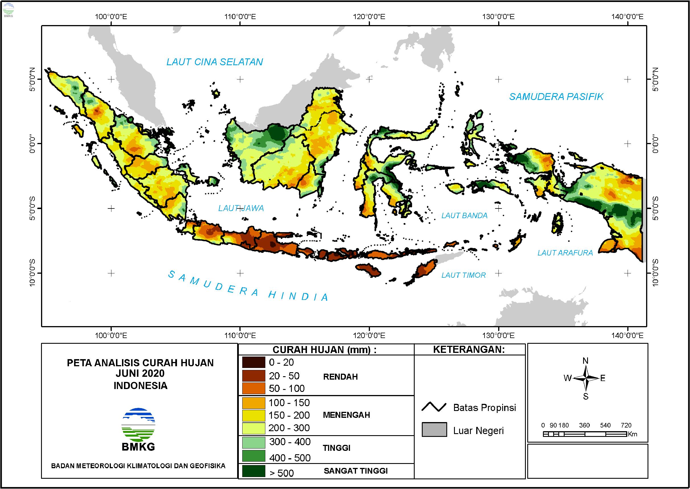 Analisis Curah Hujan dan Sifat Hujan Juni 2020