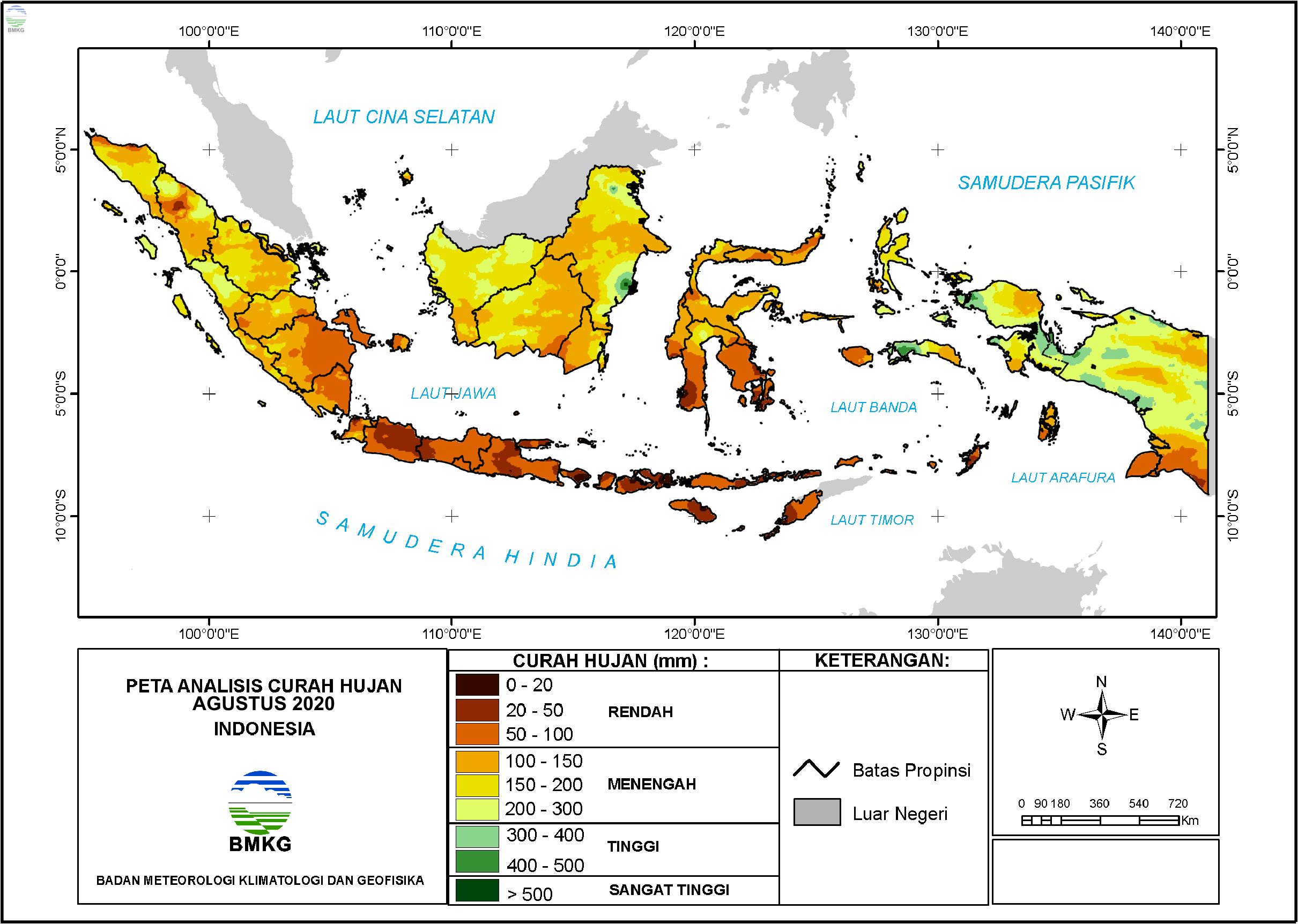 Analisis Curah Hujan dan Sifat Hujan Agustus 2020