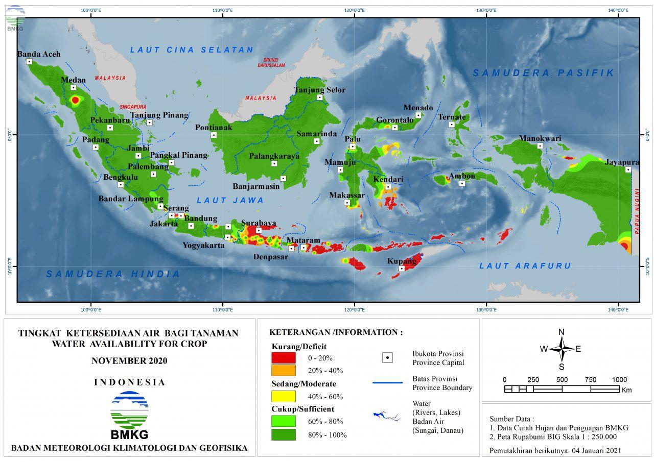 Tingkat Ketersediaan Air Bagi Tanaman - November 2020