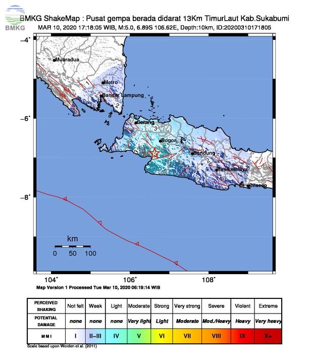 Gempabumi Tektonik M 5,0 Mengguncang Sukabumi, Tidak Berpotensi Tsunami
