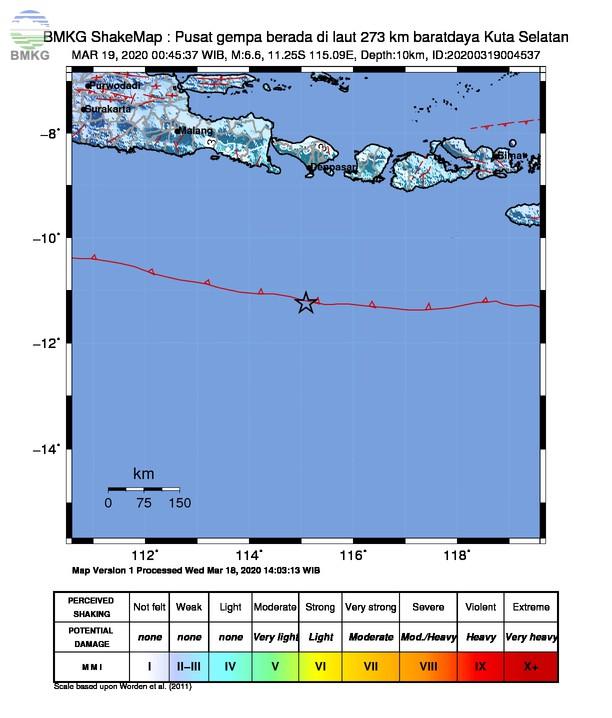 Gempabumi Tektonik M 6,6 di Selatan Bali, Tidak Berpotensi Tsunami