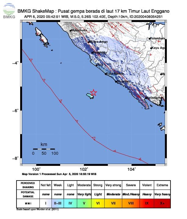 Gempabumi Tektonik M 5,0 di Samudra Hindia Pantai Barat Sumatera, Tidak Berpotensi Tsunami