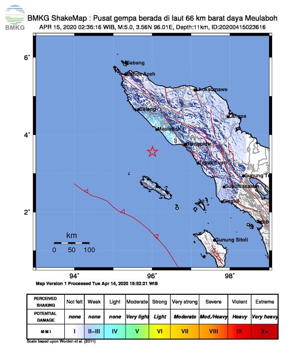 Gempabumi Tektonik M 5,0 Dirasakan di Banda Aceh, Tidak Berpotensi Tsunami