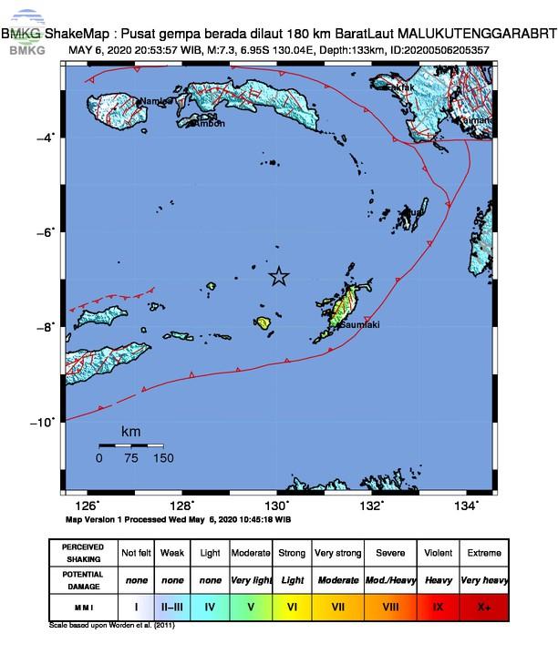 Gempabumi Tektonik M 7,3 di Laut Banda, Tidak Berpotensi Tsunami