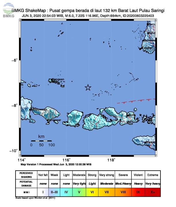 Gempabumi Tektonik M 6,0 di NTB, Tidak Berpotensi Tsunami