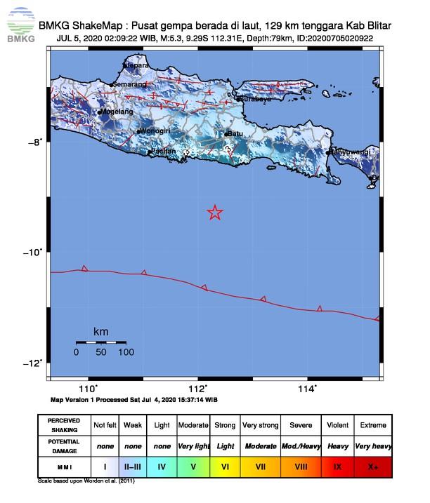 Gempabumi Tektonik M 5,3 di Selatan Kabupaten Blitar, Tidak Berpotensi Tsunami