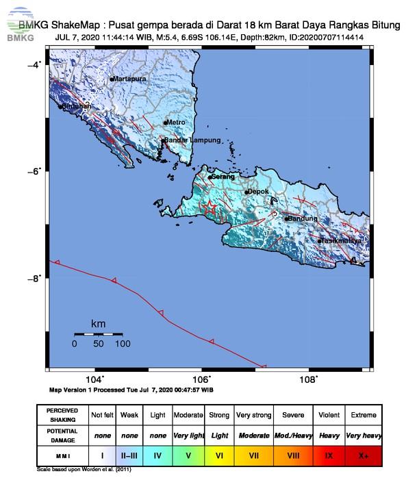 Gempabumi Tektonik M 5,4 Mengguncang Lebak, Tidak Berpotensi Tsunami