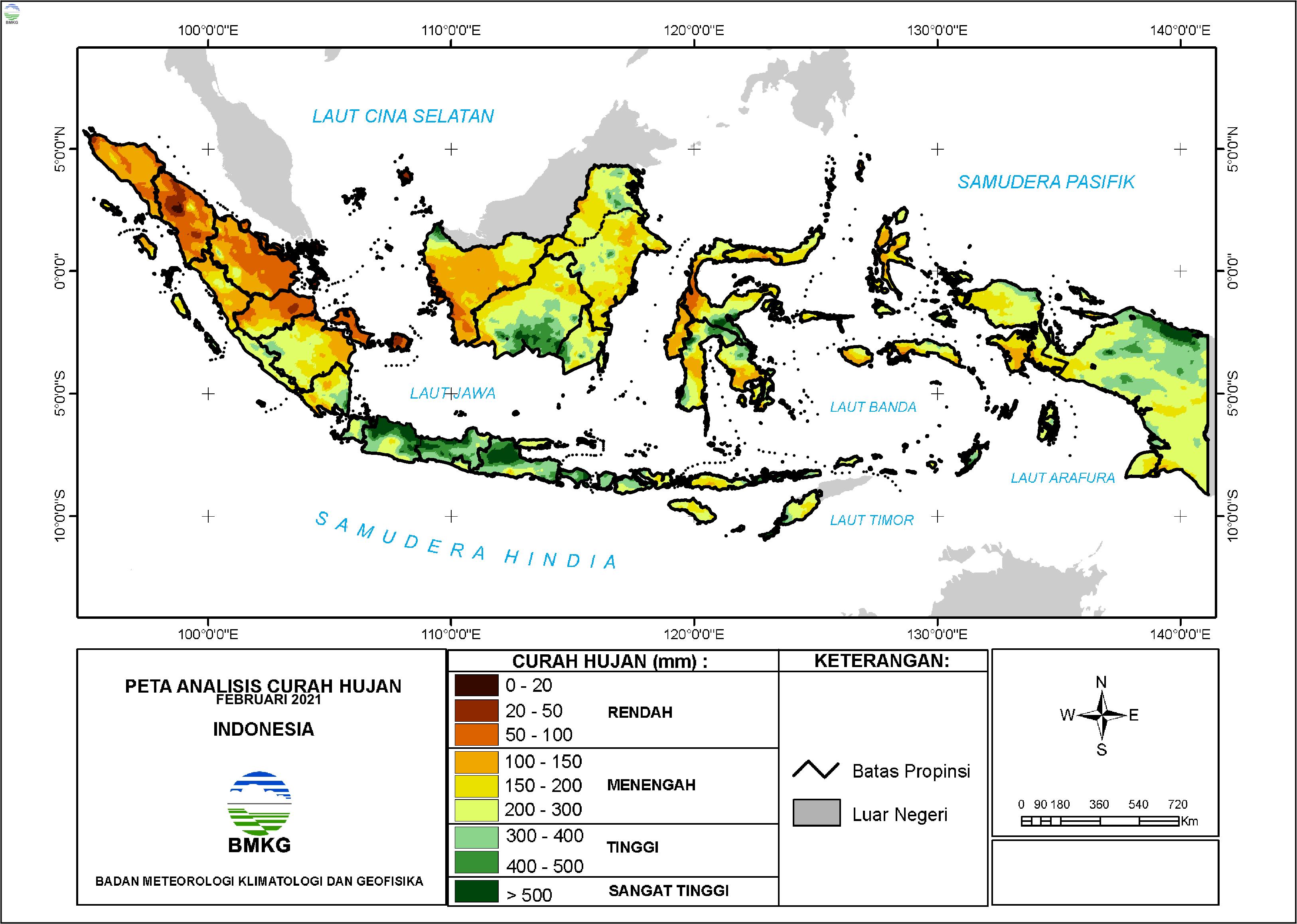 Analisis Curah Hujan dan Sifat Hujan Februari 2021