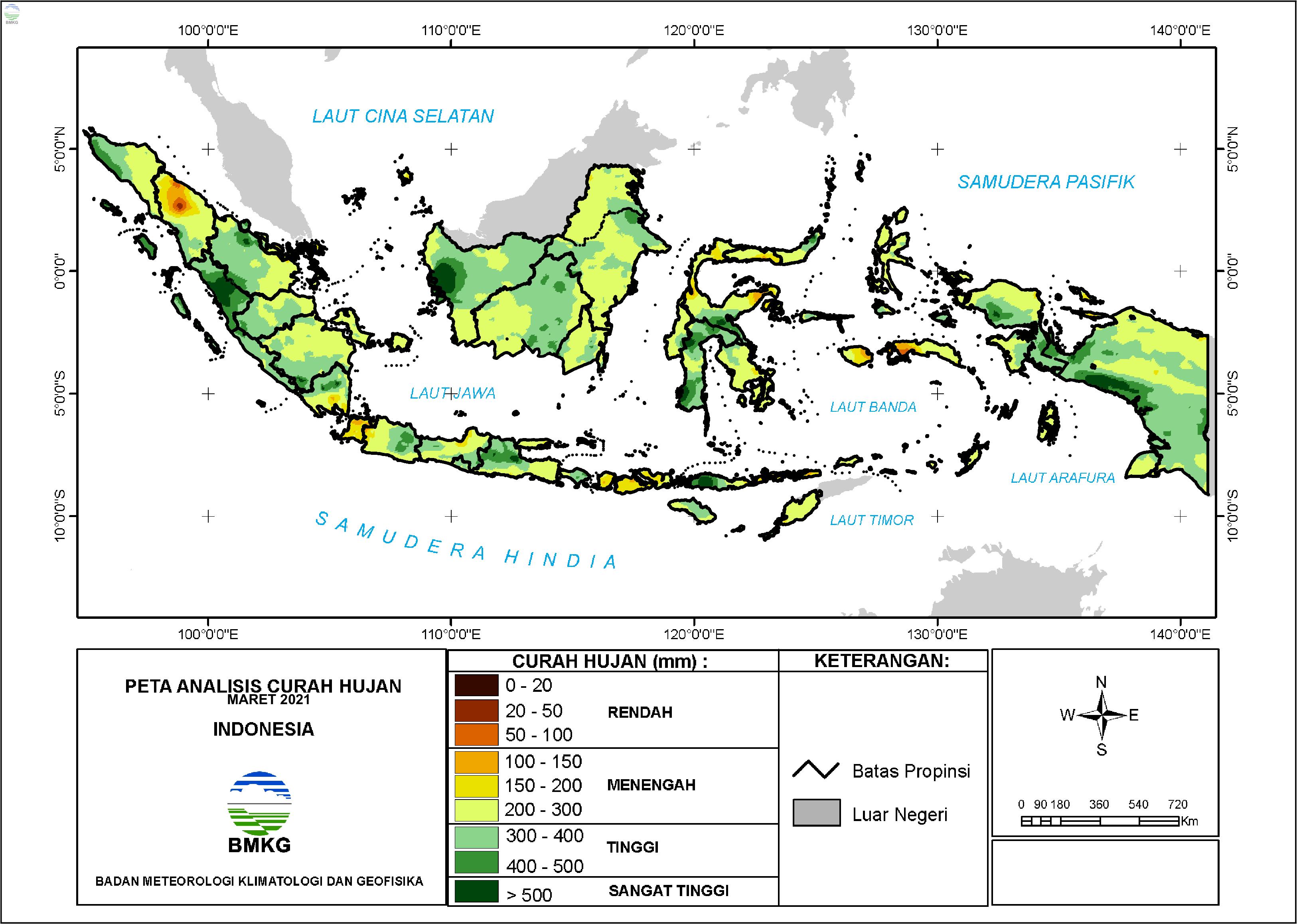 Analisis Curah Hujan dan Sifat Hujan Maret 2021