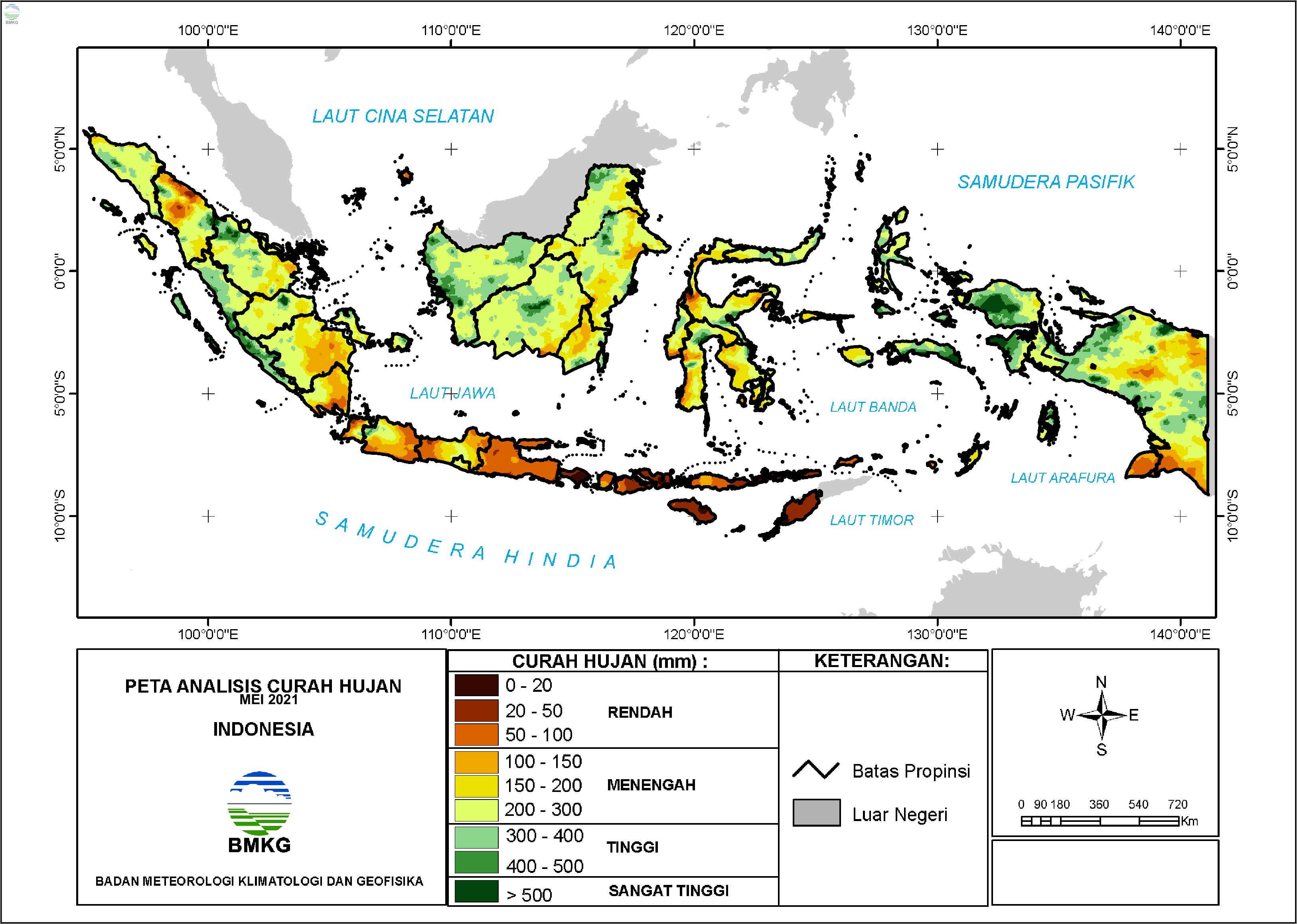 Analisis Curah Hujan dan Sifat Hujan Mei 2021