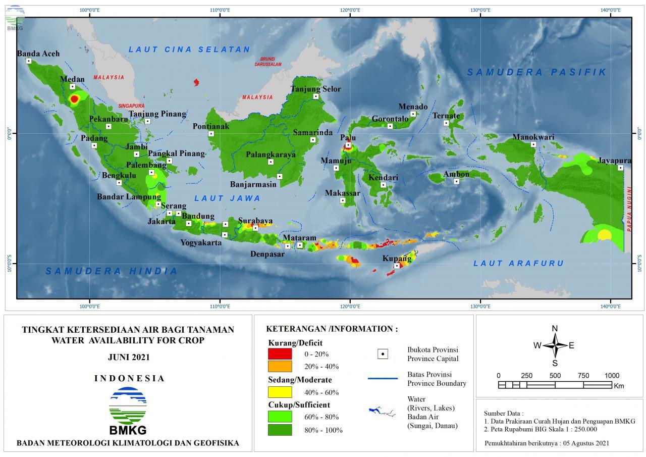 Tingkat Ketersediaan Air Bagi Tanaman - Juni 2021