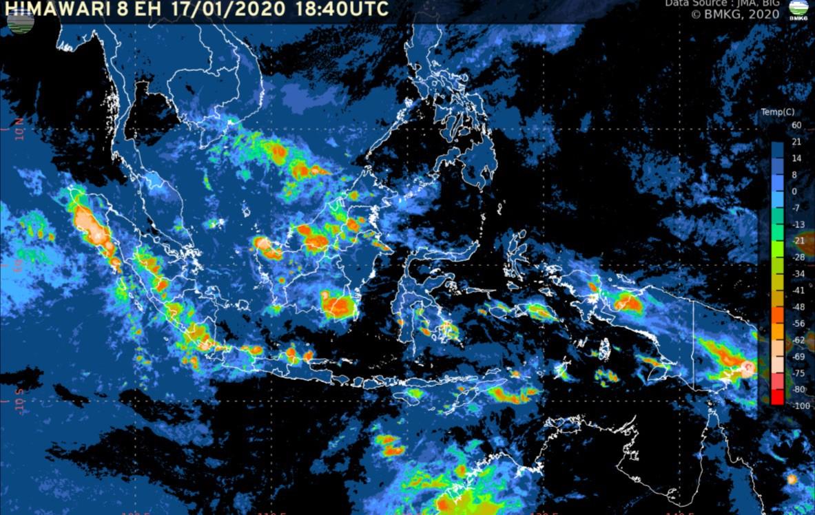 Pemutakhiran Rilis BMKG: Waspada Potensi Hujan Lebat (17-23 Januari 2020)