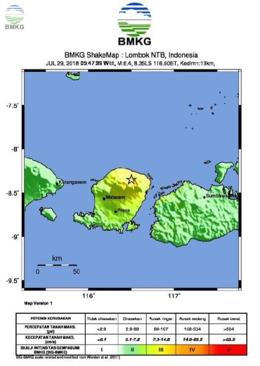 Ulasan Guncangan Tanah Akibat Gempa Lombok Timur 29 Juli 2018