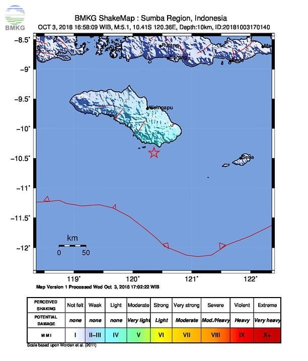 Gempabumi Tektonik M=5.1 Mengguncang Kabupaten Sumba Timur, Tidak Berpotensi Tsunami