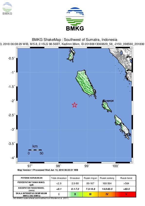 Gempabumi Tektonik M=5.9 Mengguncang Kabupaten Kepulauan Mentawai, Tidak Berpotensi Tsunami