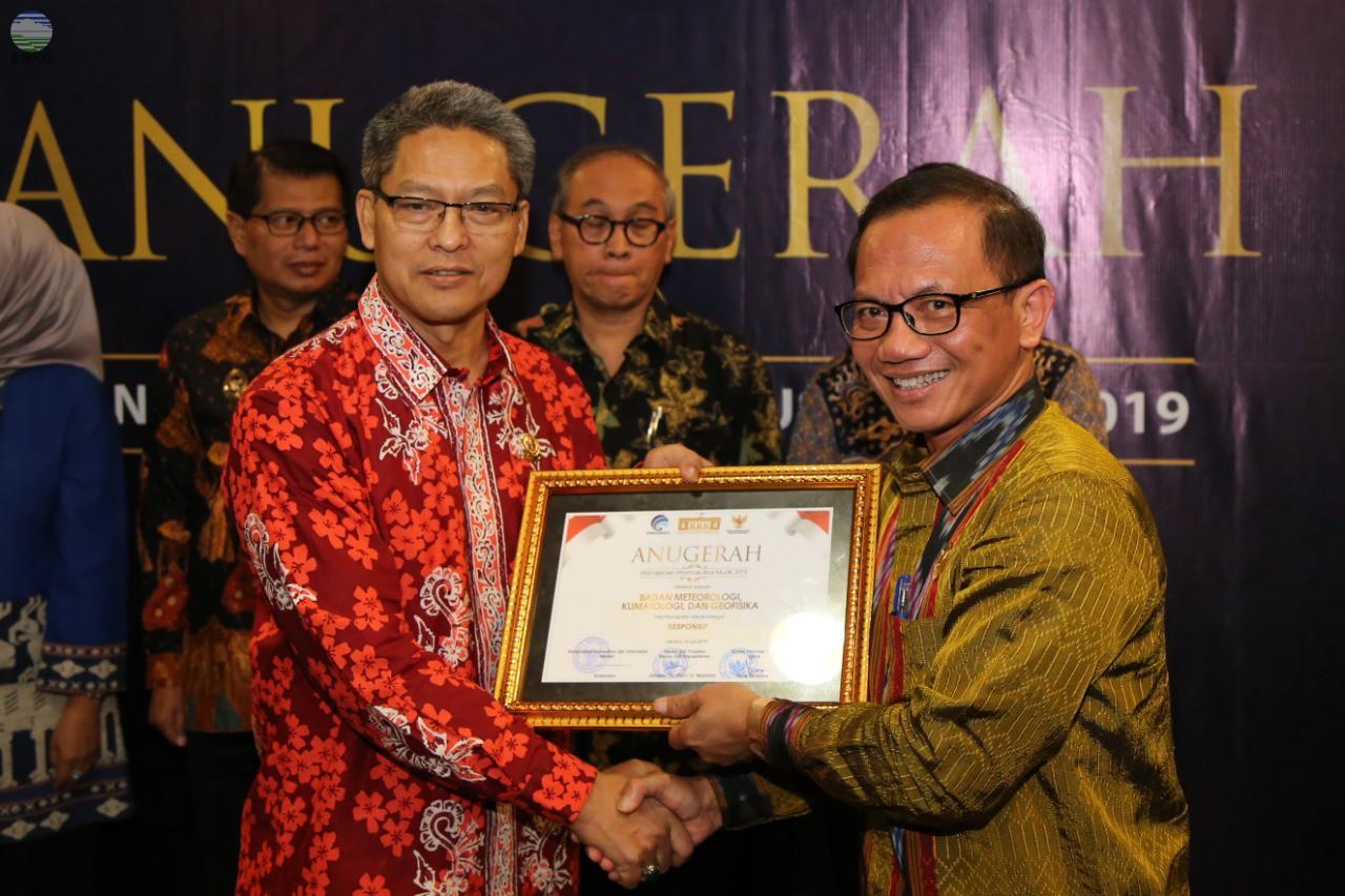 BMKG Raih Penghargaan Anugerah Manajemen Informasi Arus Mudik 2019