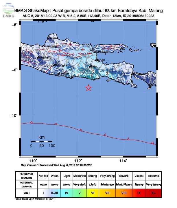 Gempabumi Tektonik M=5.2 Mengguncang Kabupaten Malang, Tidak Berpotensi Tsunami