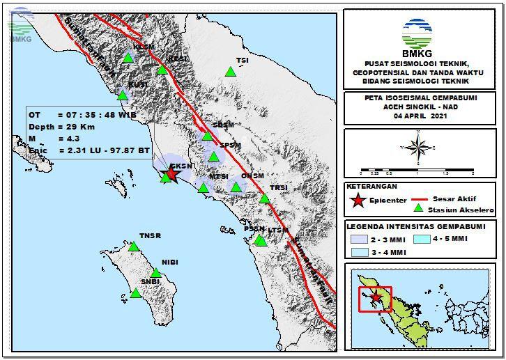 Peta Isoseismal Gempabumi Aceh Singkil - NAD, 04 April 2021