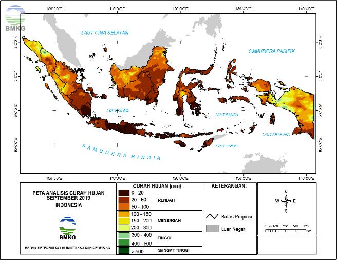Analisis Curah Hujan dan Sifat Hujan Bulan September 2019