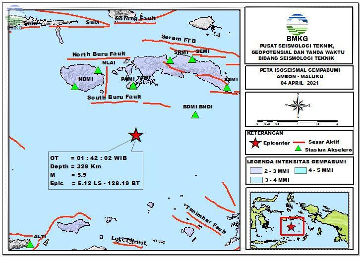 Peta Isoseismal Gempabumi Ambon - Maluku, 04 April 2021