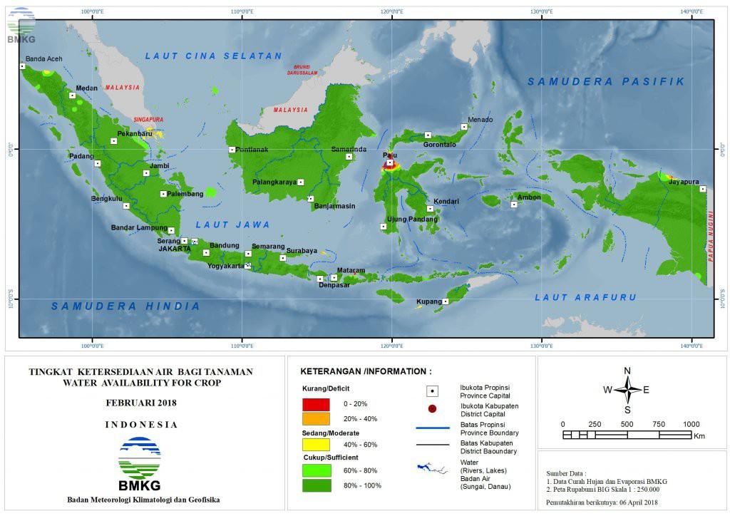 Ketersediaan Air Tanah di Indonesia Februari 2018