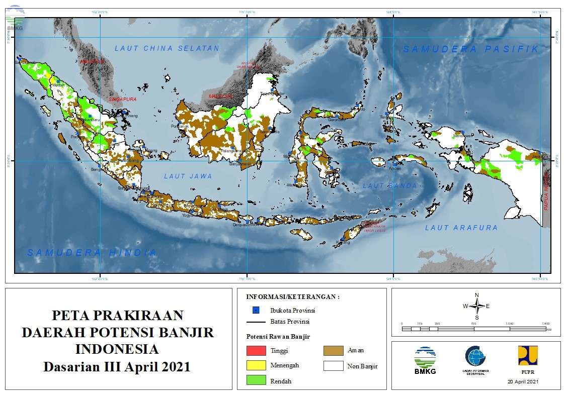Prakiraan Daerah Potensi Banjir Dasarian III April - II Mei 2021
