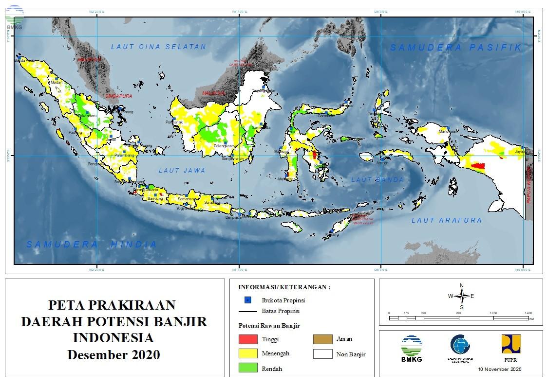 Prakiraan Daerah Potensi Banjir Bulan Desember 2020 dan Januari - Februari 2021