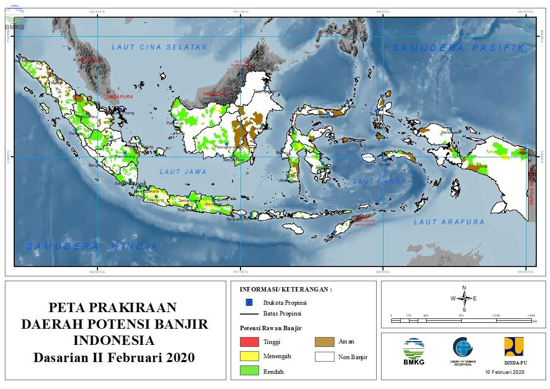 Prakiraan Daerah Potensi Banjir Dasarian II - III Februari dan I Maret 2020