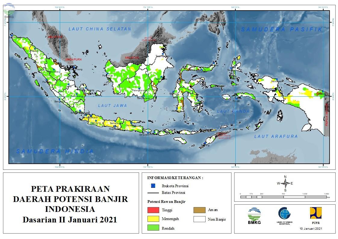 Prakiraan Daerah Potensi Banjir Dasarian II - III Januari dan I Februari 2021