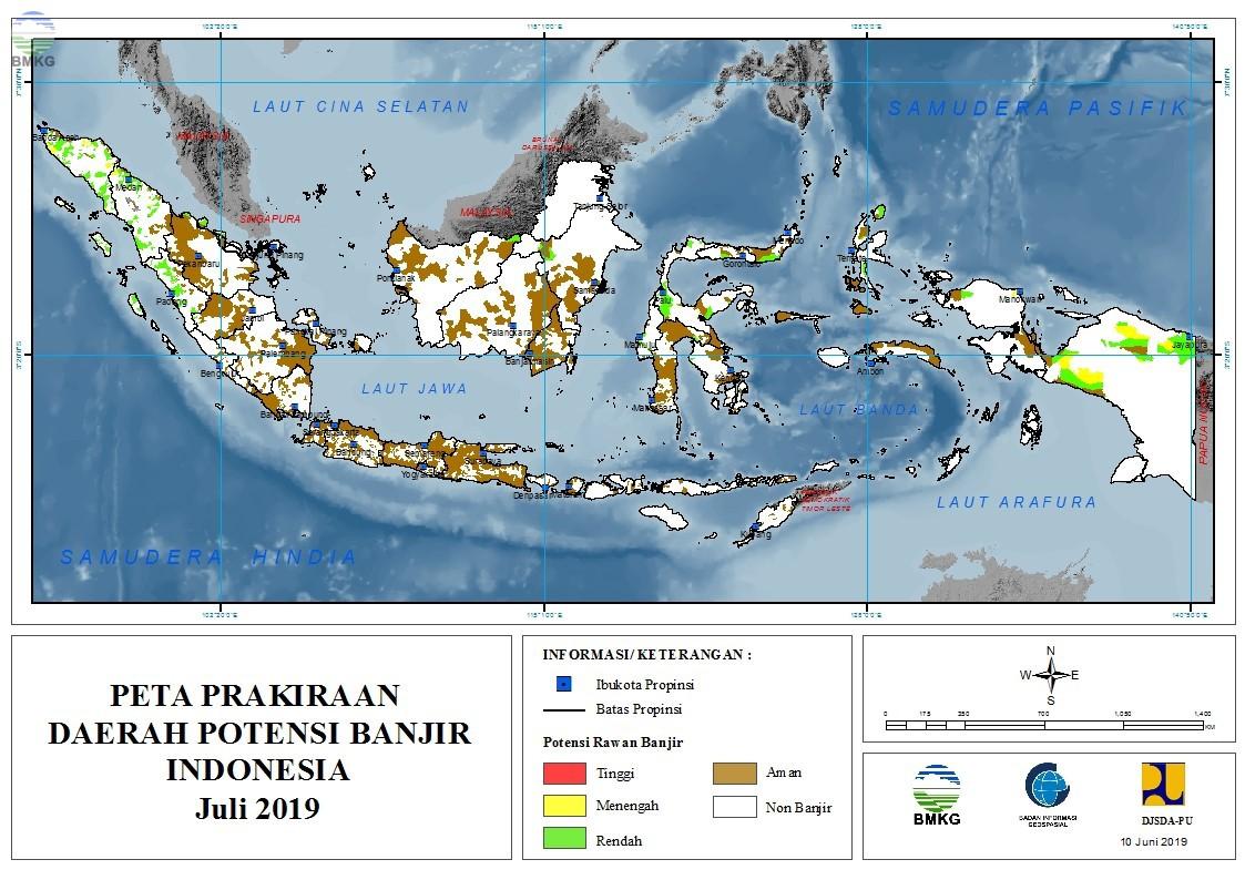 Prakiraan Daerah Potensi Banjir Bulan Juli, Agustus, dan September 2019