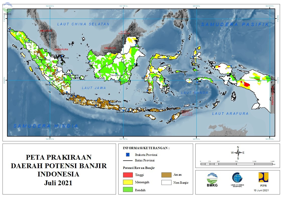 Prakiraan Daerah Potensi Banjir Bulan Juli, Agustus, dan September 2021
