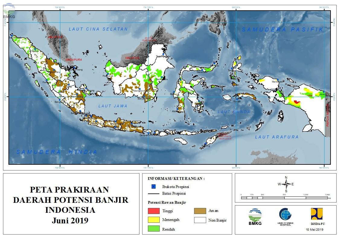Prakiraan Daerah Potensi Banjir Bulan Juni, Juli, dan Agustus 2019