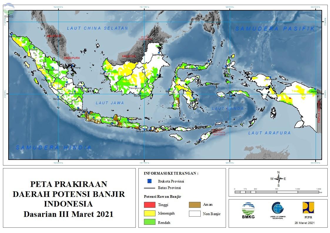 Prakiraan Daerah Potensi Banjir Dasarian III Maret - Dasarian II April 2021