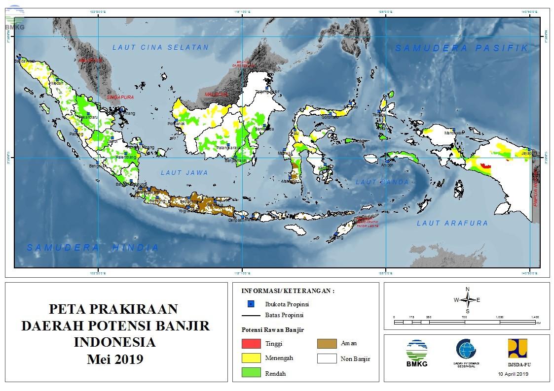 Prakiraan Daerah Potensi Banjir Bulan Mei, Juni, dan Juli 2019