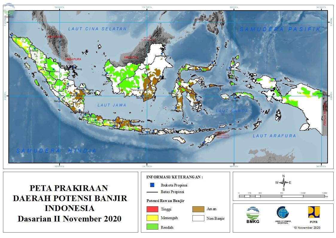 Prakiraan Daerah Potensi Banjir Dasarian II - III November dan I Desember 2020