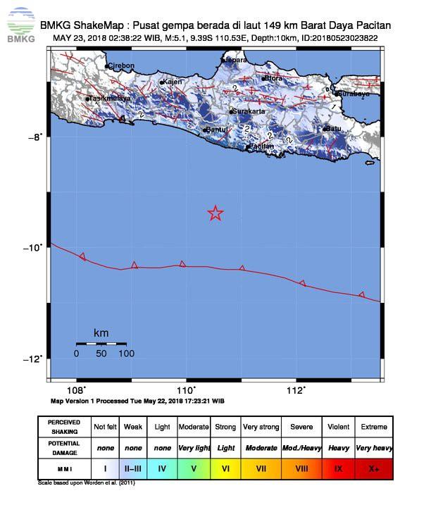 Gempabumi Tektonik M=5.1 Guncang Samudra Hindia Selatan Yogyakarta Tidak Berpotensi Tsunami