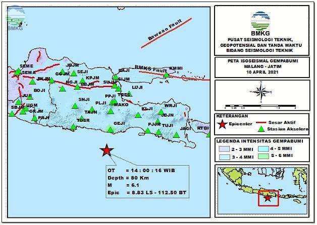 Peta Isoseismal Gempabumi Barat Daya Malang, Jawa Timur, 10 April 2021