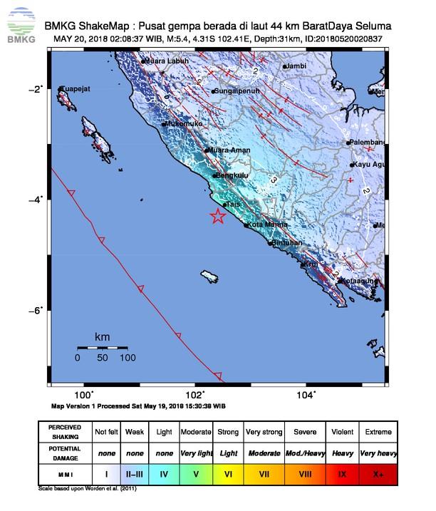 Gempabumi Tektonik M=4.8 Mengguncang Bengkulu, Tidak Berpotensi Tsunami