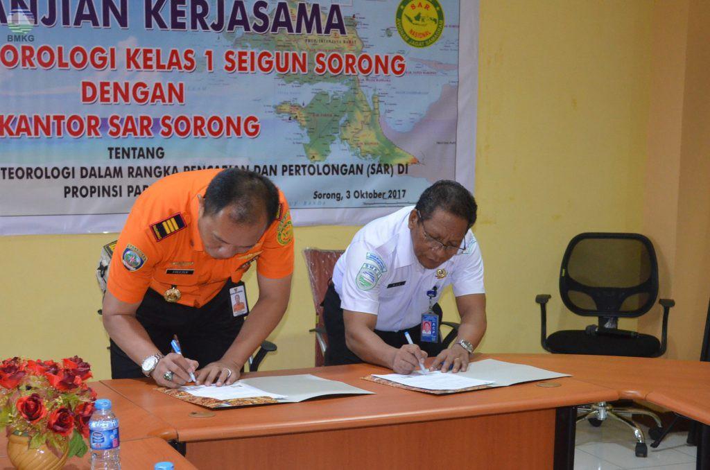 Penandatanganan Perjanjian Kerjasama Antara  BMKG - BASARNAS