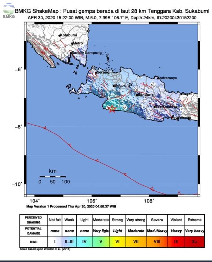 Gempabumi Tektonik M 5,0 di Sukabumi Selatan, Tidak Berpotensi Tsunami