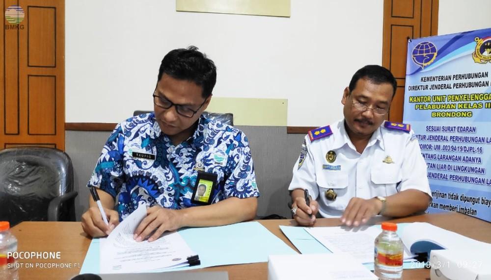 Penandatanganan Perjanjian Kerjasama Stamar Perak II Surabaya Dengan UPP Brondong Lamongan